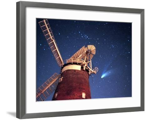 Hale Bopp Comet in Sky Over Thaxted Essex--Framed Art Print