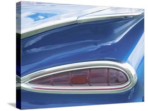 Tail Light on Blue Car--Stretched Canvas Print