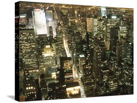 Downtown City Lights at Night--Stretched Canvas Print