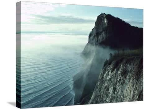 Morning Mist on Picturesque Cliffs off Coast--Stretched Canvas Print