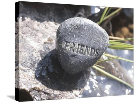 Rock with the Word Friends Beside Water--Stretched Canvas Print