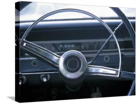 Vintage Steering Wheel in Antique Car--Stretched Canvas Print