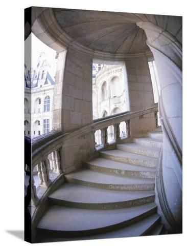 Curved Stone Staircase--Stretched Canvas Print