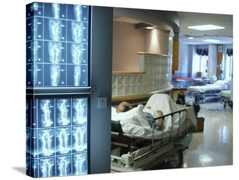 X-Ray Images on Computer Screen in Hospital--Stretched Canvas Print