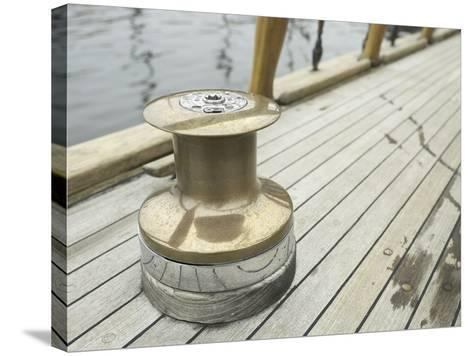 Brass Boat Moor on Wooden Pier--Stretched Canvas Print