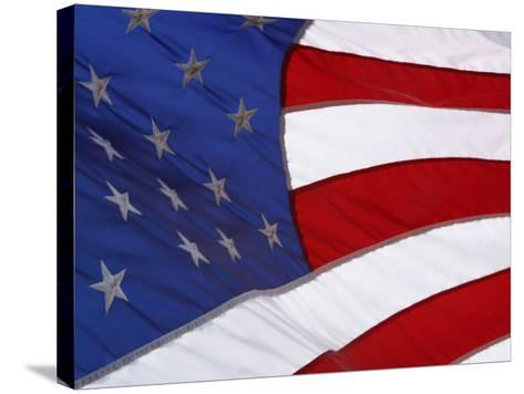 Close-up of an American Flag Waving in the Wind--Stretched Canvas Print