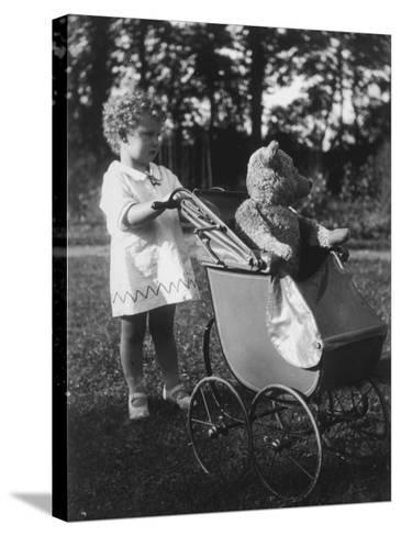 Little Girl Pushes Her Teddy Bear Around in a Pram--Stretched Canvas Print