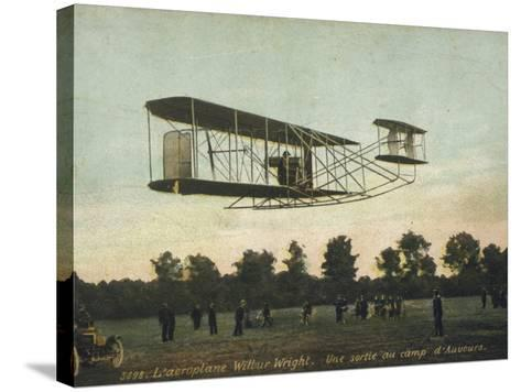 Beautiful Shot of Wilbur Wright Making a Demonstration Flight at Auvours--Stretched Canvas Print