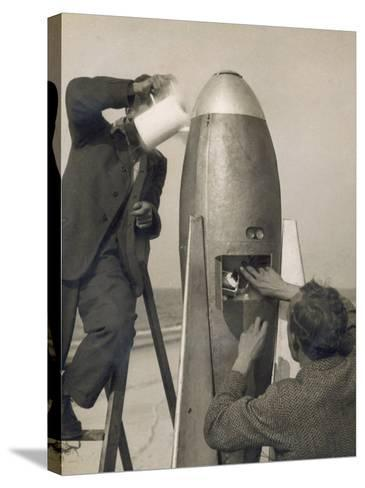 German Rocket Experiments on a Windswept Spit of Land, Filling the Device with Its Chemical Fuel--Stretched Canvas Print