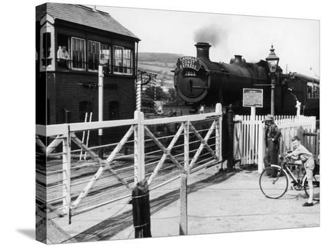The Cambrian Coast Express Steam Locomotive Train at Llanbadarn Crossing Near Aberystwyth Wales--Stretched Canvas Print