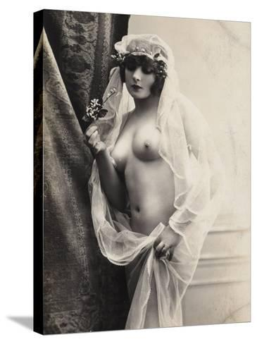 A Young Woman Posing Naked: a Veil Covers Her Hair and Comes Down Her Body--Stretched Canvas Print