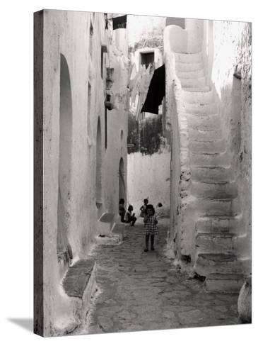 Kids in a Street of Sperlonga--Stretched Canvas Print