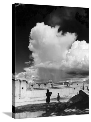 Monsoon Clouds Over the Houses of Gyantse, Tibet--Stretched Canvas Print