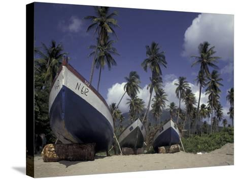 Boat on Pinney Beach, Nevis, Caribbean-Robin Hill-Stretched Canvas Print