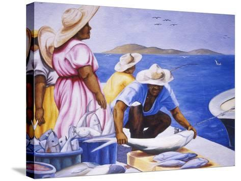 Mural at Public Market, Marigot, St. Martin, Caribbean-Greg Johnston-Stretched Canvas Print