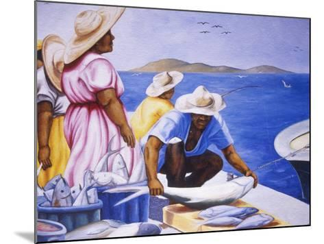 Mural at Public Market, Marigot, St. Martin, Caribbean-Greg Johnston-Mounted Photographic Print