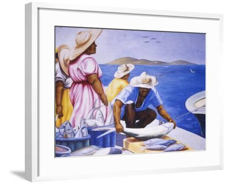 Mural at Public Market, Marigot, St. Martin, Caribbean-Greg Johnston-Framed Art Print