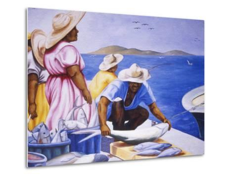 Mural at Public Market, Marigot, St. Martin, Caribbean-Greg Johnston-Metal Print