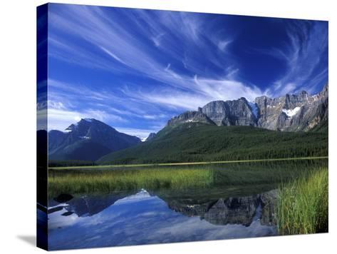 Cirrus Clouds Over Waterfowl Lake, Banff National Park, Alberta, Canada-Janis Miglavs-Stretched Canvas Print