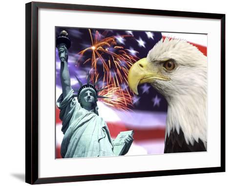 Eagle, Fireworks, Statue of Liberty-Bill Bachmann-Framed Art Print