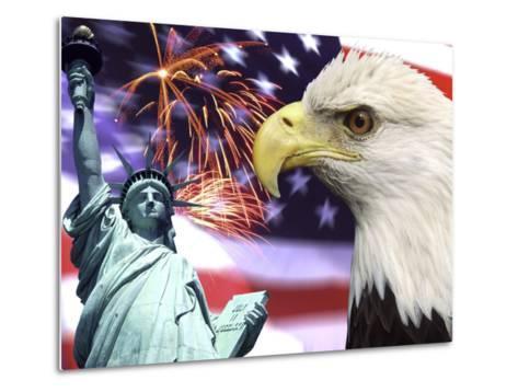 Eagle, Fireworks, Statue of Liberty-Bill Bachmann-Metal Print