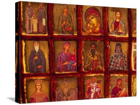 Orthodox Church with Portraits of Religious Figures, Athens, Greece-Walter Bibikow-Stretched Canvas Print