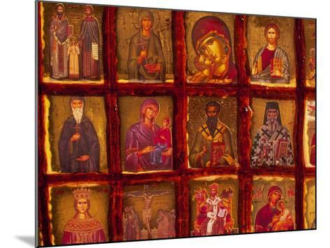 Orthodox Church with Portraits of Religious Figures, Athens, Greece-Walter Bibikow-Mounted Photographic Print