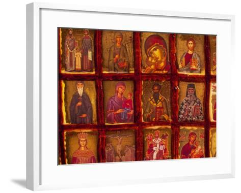 Orthodox Church with Portraits of Religious Figures, Athens, Greece-Walter Bibikow-Framed Art Print