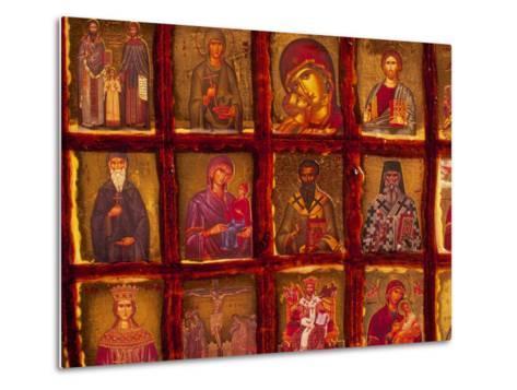 Orthodox Church with Portraits of Religious Figures, Athens, Greece-Walter Bibikow-Metal Print