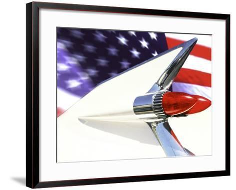 Classic Cadillac and American Flag-Bill Bachmann-Framed Art Print