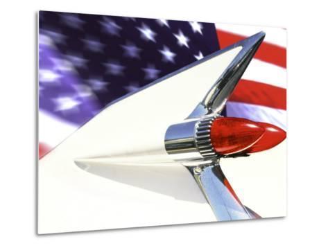 Classic Cadillac and American Flag-Bill Bachmann-Metal Print