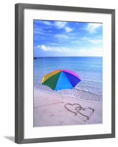 Umbrella on the Beach with Hearts Drawn in the Sand-Bill Bachmann-Framed Art Print