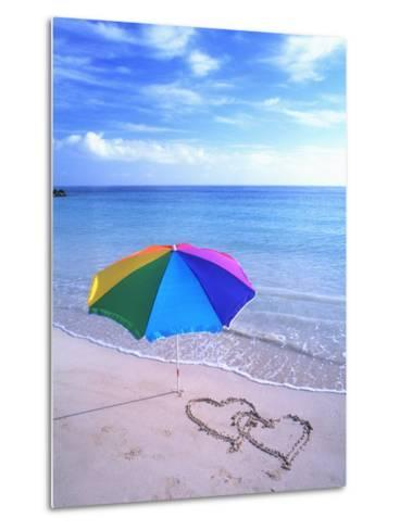 Umbrella on the Beach with Hearts Drawn in the Sand-Bill Bachmann-Metal Print