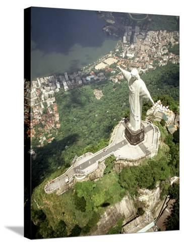 Aerial of Corcovado Christ Statue and Rio de Janeiro, Brazil-Bill Bachmann-Stretched Canvas Print