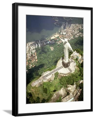 Aerial of Corcovado Christ Statue and Rio de Janeiro, Brazil-Bill Bachmann-Framed Art Print