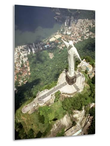 Aerial of Corcovado Christ Statue and Rio de Janeiro, Brazil-Bill Bachmann-Metal Print