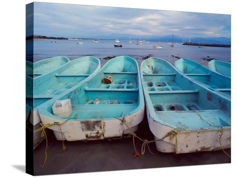 Turquoise Fishing Boats in Fishing Village, North of Puerto Vallarta, Colonial Heartland, Mexico-Tom Haseltine-Stretched Canvas Print