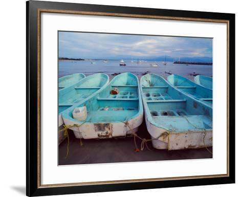 Turquoise Fishing Boats in Fishing Village, North of Puerto Vallarta, Colonial Heartland, Mexico-Tom Haseltine-Framed Art Print