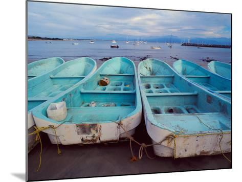 Turquoise Fishing Boats in Fishing Village, North of Puerto Vallarta, Colonial Heartland, Mexico-Tom Haseltine-Mounted Photographic Print