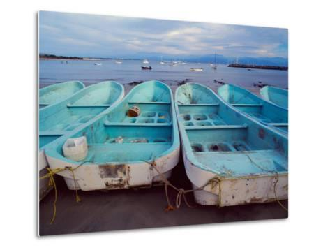 Turquoise Fishing Boats in Fishing Village, North of Puerto Vallarta, Colonial Heartland, Mexico-Tom Haseltine-Metal Print
