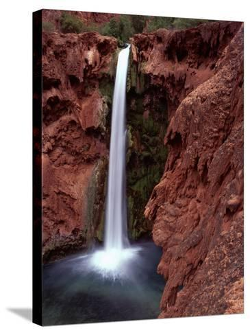 Mooney Falls in Parched Desert of Havasupai Reservation, Havasu Canyon, Arizona, USA-Jerry Ginsberg-Stretched Canvas Print