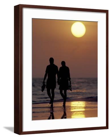 Couple Walking on Beach at Sunset, Sarasota, Florida, USA-Maresa Pryor-Framed Art Print