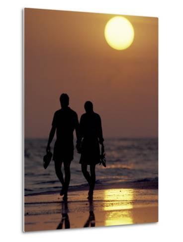 Couple Walking on Beach at Sunset, Sarasota, Florida, USA-Maresa Pryor-Metal Print
