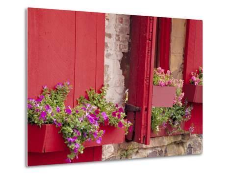 Flower Boxes on Storefronts, Savannah, Georgia, USA-Julie Eggers-Metal Print
