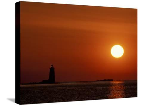 Sunrise on Whaleback Light and the Mouth of Piscataqua River, Fort Foster, Maine, USA-Jerry & Marcy Monkman-Stretched Canvas Print