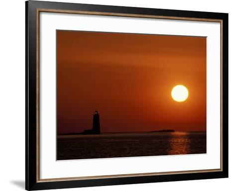 Sunrise on Whaleback Light and the Mouth of Piscataqua River, Fort Foster, Maine, USA-Jerry & Marcy Monkman-Framed Art Print
