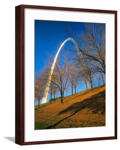 Autumn Trees Below Gateway Arch, Jefferson National Expansion, St. Louis, Missouri, USA-Scott T^ Smith-Framed Art Print