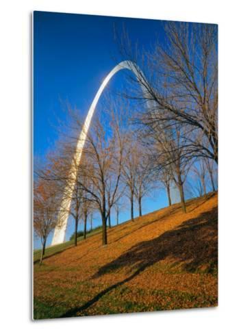 Autumn Trees Below Gateway Arch, Jefferson National Expansion, St. Louis, Missouri, USA-Scott T^ Smith-Metal Print