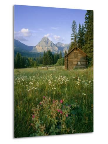 Old Park Service cabin in the Cut Bank Valley of Glacier National Park in Montana-Chuck Haney-Metal Print