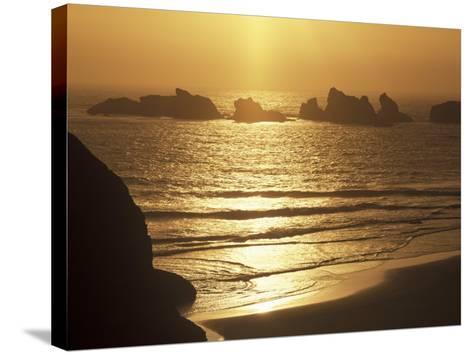 Offshore Seastacks and Sunset, Bandon Beach State Park, Oregon, USA-Adam Jones-Stretched Canvas Print